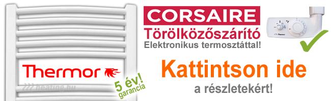 Corsaire elektromos törölközőszárító radiátor termosztáttal és fürdőszoba fűtés