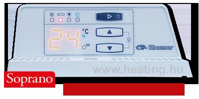 Digitális vezérlésű, számos kiegészítő funkcióval ellátott elektromos radiátor kezelőfelülete.