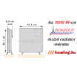 A Bonjour 2 1000 W-os mobil elektromos konvektor méretei.