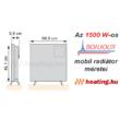 Az 1500 W-os Bonjour 2 hordozható elektromos konvektor méretei.