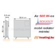 Az 500 W-os Bonjour 2 mobil elektromos konvektor méretei.