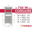 A 750 W -os Thermor Corsaire elektromos törölközőszárító mérettáblázata.