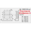 A Thermor Evidence 3 HD 1000 W-os  digitális vezérlésű elektromos radiátor méretei.