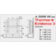A Thermor Evidence 3 HD 2000 W-os programozható elektromos radiátor mérettáblázata.