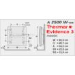 A Thermor Evidence 3 HD kettős hatású fűtőpanel szerelési méretei.