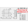 A Thermor Evidence 3 HD 500 W teljesítményű, programozható elektromos radiátor méretei.