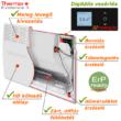 A Thermor Evidence 3 HD ErP ready elektromos fűtőpanel részei.