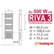 A programozható 500 W-os Riva 3 elektromos törölközőszárító radiátor méretei