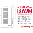 A 750 W-os időzíthető Riva 3 elektromos törölközőszárító radiátor méretei.