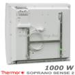 A Thermor Soprano Sense 2 1000 W-os elektromos fűtőpanel tartókerettel és villásdugóval.
