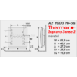A Thermor Soprano Sense 2 elektromos fűtőpanel mérettáblázata.