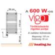 A 600 W-os Vigo elektromos törölközőszárító radiátor rögzítési pontjai.