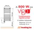 A 800 W teljesítményű Vigo elektromos törölközőszárító szerelési pontjai.