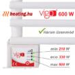 A 600 W-os Vigo elektromos törölközőszárító radiátor 210, 330 és 600 W-al is működtethető.