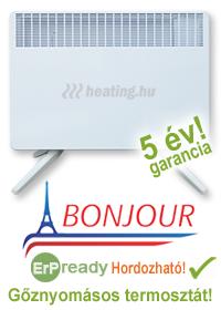 Bonjour 2 ErP kompatibilis hordozható elektromos konvektor átmeneti és kiegészítő fűtésre.