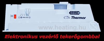 Elektronikus vezérlésű, °C skálázású tekerőgombbal állítható elektronikus vezérlésű fűtőpanel kezelőfelülete.