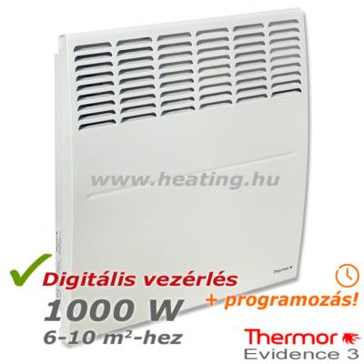 1000 W-os Thermor Evidence 3 digitális vezérlésű elektromos radiátor előlről.
