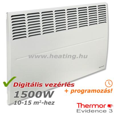 Thermor Evidence 3 HD 1500 W teljesítményű programozható elektromos radiátor elölről.