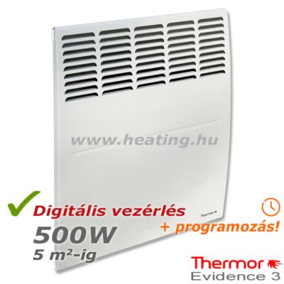Thermor Evidence 3 HD 500 W-os elektromos radiátor elölről.