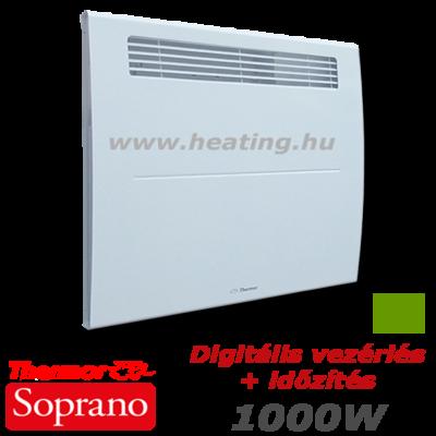 Thermor Soprano kettős hatású elektromos fűtőpanel 1000 W teljesítménnyel, digitális vezérléssel és időzítővel.