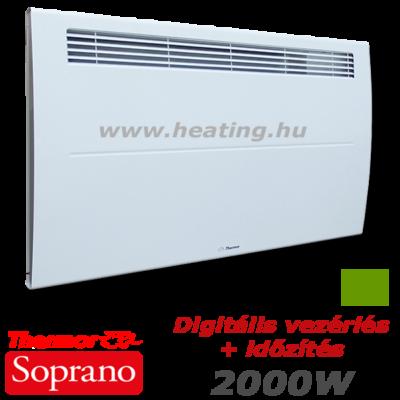 Thermor Soprano nagy teljesítményű, 2500 W-os  kettős hatású elektromos fűtőpanel digitális vezérléssel és időzítővel.