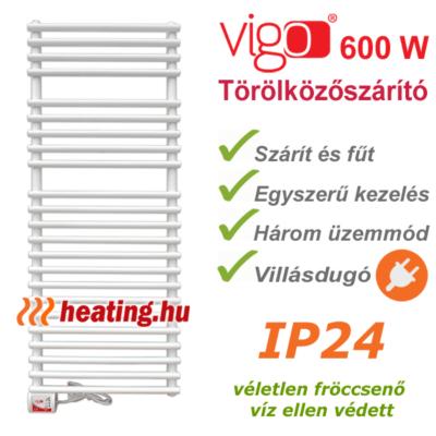 Vigo elektromos törölközőszárító radiátor 600 W teljesítménnyel, villásdugóval és három üzemmóddal.