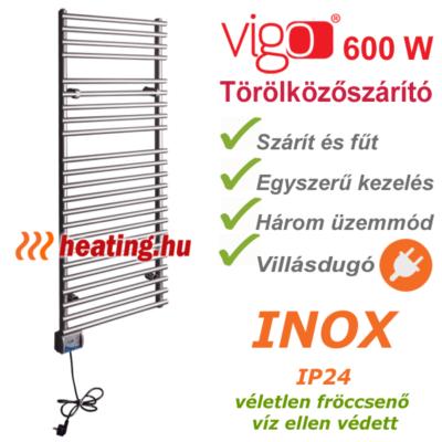 Vigo rozsdamentes acél elektromos törölközőszárító 600 W teljesítménnyel, villásdugóval és három fokozattal.