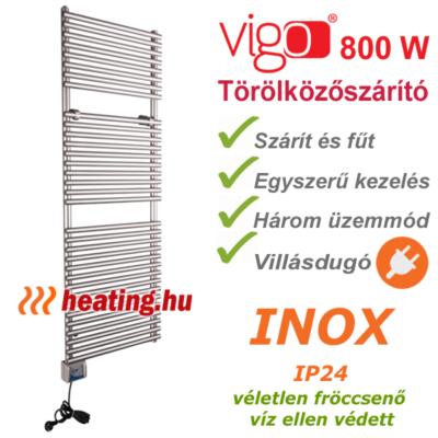 Vigo inox elektromos törölközőszárító 800 W -al, három üzemmóddal és készre szerelt villásdugóval.