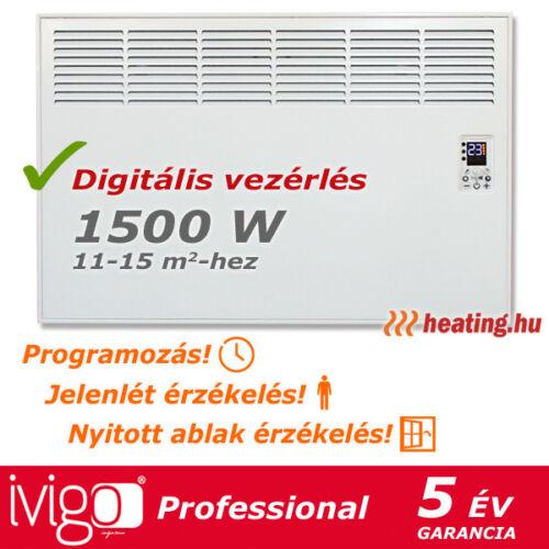 1500 W-os Ivigo Professional elektromos konvektor, programozással.