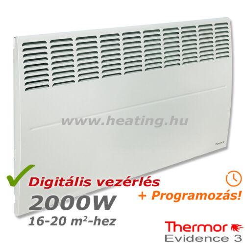 2000 W teljesítményű, digitális vezérlésű Thermor Evidence 3 HD elektromos radiátor elölről.