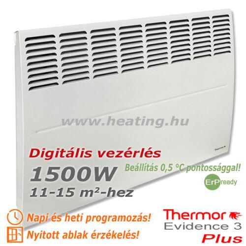 Az Evidence 3 Plus 1500 W elektromos radiátor 0,5 °C-onként állítható.