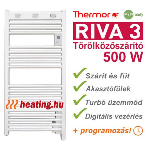 Thermor Riva 3 500 W-os, gazdaságos fürdőszobai elektromos fűtés és törölközőszárító radiátor.