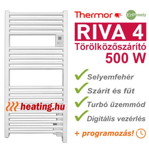 Thermor Riva 4 500 W-os, takarékos fürdőszobai elektromos fűtés és törölközőszárító radiátor.