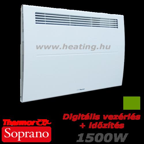 Thermor Soprano 1500 W teljesítményű elektromos fűtőpanel digitális vezérléssel és beépített időzítéssel.