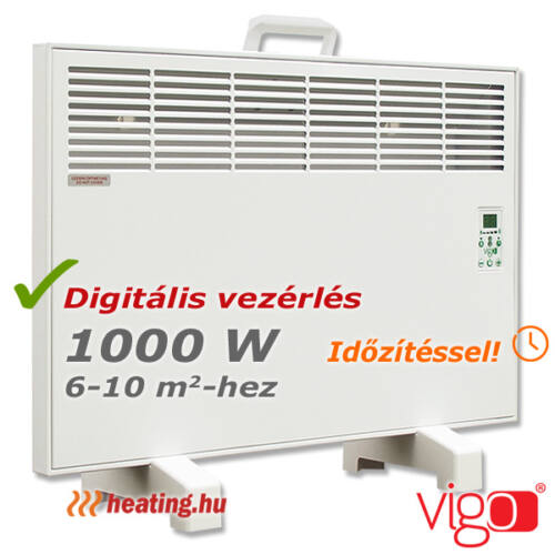 1000 W-os hordozható Vigo elektromos fűtőpanel.