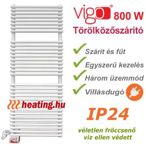 Vigo elektromos törölközőszárító radiátor 800 W -al, három fokozattal és készre szerelt villásdugóval. .
